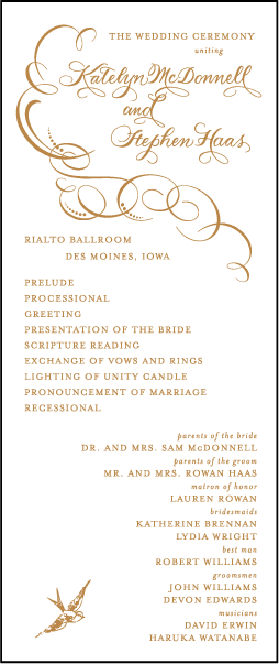 Wedding Program Etiquette And Wording Bella Figura Party