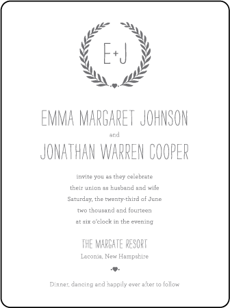 Alouette Monogram Letterpress Invitation Design Medium