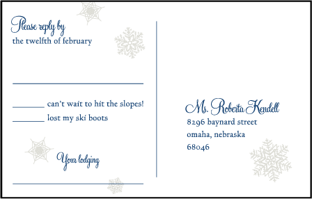 Alpine Letterpress Reply Postcard Front Design Medium