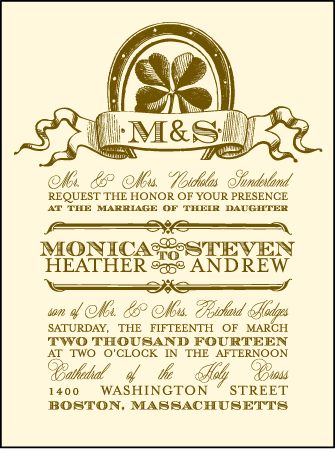 Antique Luck Letterpress Invitation Design Medium
