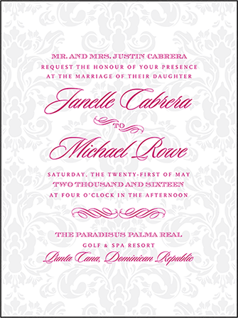 Augustine Damask Letterpress Invitation Design Medium