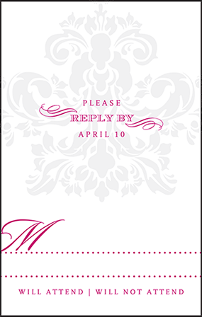 Augustine Damask Letterpress Reply Postcard Front Design Medium