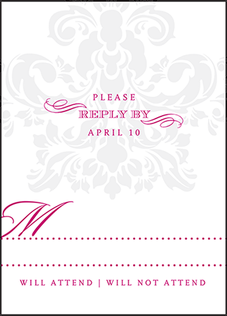 Augustine Damask Letterpress Reply Design Medium