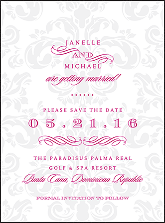 Augustine Damask Letterpress Save The Date Design Medium