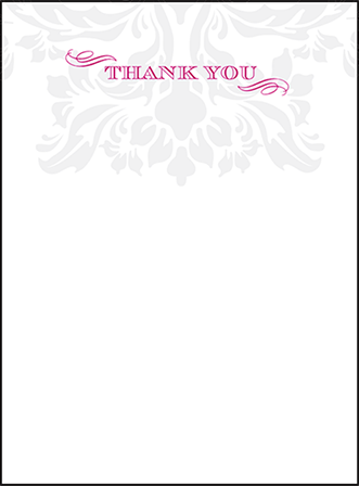 Augustine Damask Letterpress Thank You Card Flat Design Medium