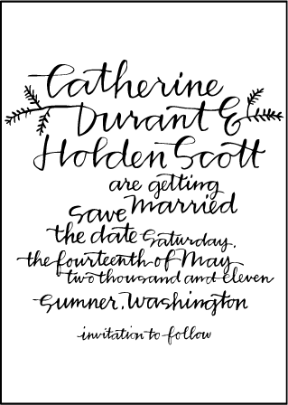Balsam Calligraphy Letterpress Save The Date Design Medium