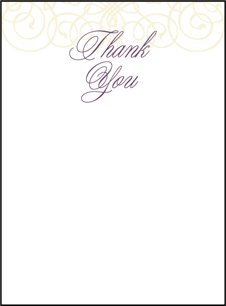 Baroque Letterpress Thank You Card Flat Design Medium