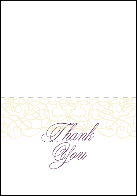 Baroque Letterpress Thank You Card Fold Design Medium