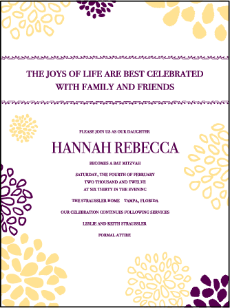 Bellini Letterpress Bat Mitzvah Design Medium