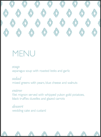 Boho Letterpress Menu Design Medium