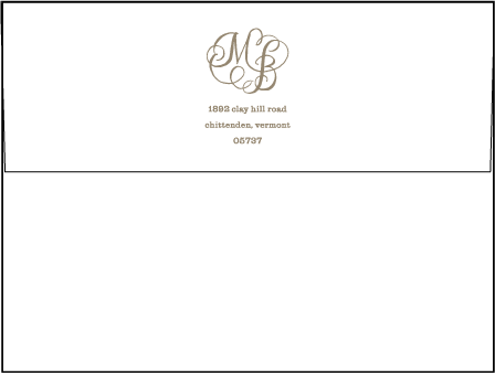 Calligraphy Monogram Letterpress Envelope Design Medium