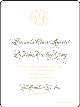 Calligraphy Monogram Letterpress Invitation Design Medium