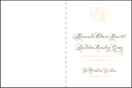 Calligraphy Monogram Letterpress Program Design Medium