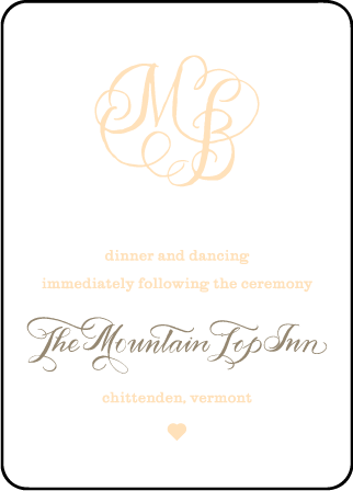 Calligraphy Monogram Letterpress Reception Design Medium
