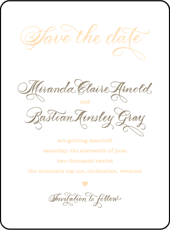 Calligraphy Monogram Letterpress Save The Date Design Medium