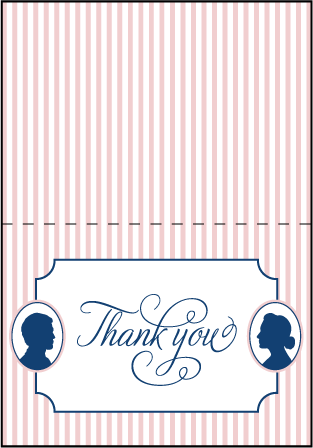 Cameo Letterpress Thank You Card Fold Design Medium