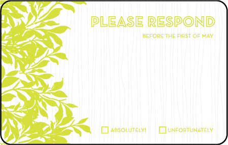 Canopy Letterpress Reply Postcard Front Design Medium