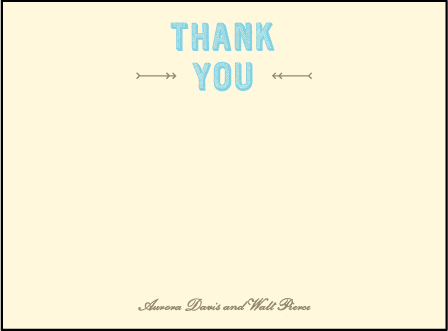 Carte de Visite Letterpress Thank You Card Flat Design Medium