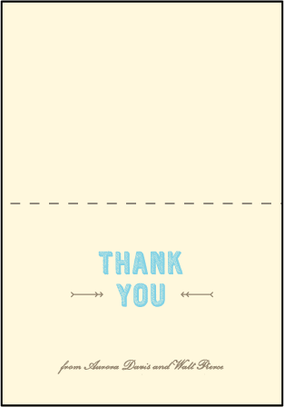 Carte de Visite Letterpress Thank You Card Fold Design Medium