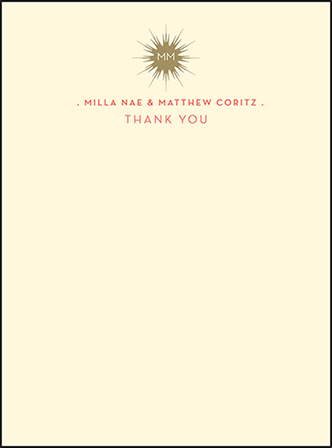 Celeste Letterpress Thank You Card Flat Design Medium