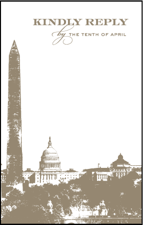 Charmed Washington DC Letterpress Reply Postcard Front Design Medium