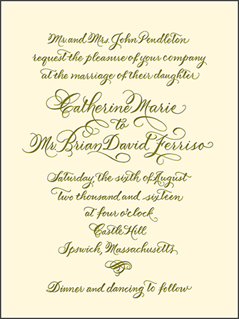 Classic Calligraphy Letterpress Invitation Design Medium