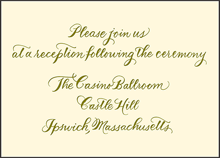 Classic Calligraphy Letterpress Reception Design Medium