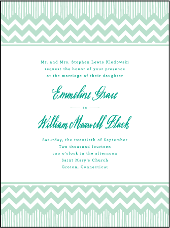 Classic Chevron Letterpress Invitation Design Medium