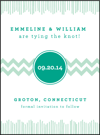 Classic Chevron Letterpress Save The Date Design Medium