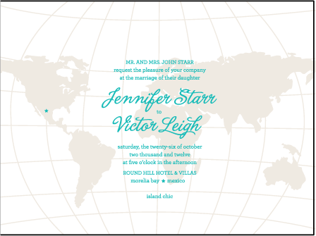 Classic Destination Letterpress Invitation Design Medium