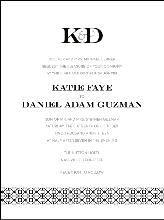 Classic Monogram Letterpress Invitation Design Medium