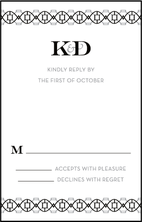 Classic Monogram Letterpress Reply Postcard Front Design Medium