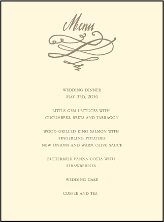 Coronado Letterpress Menu Design Medium