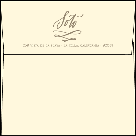 Coronado Letterpress Thank You Card Flat Envelope Design Medium
