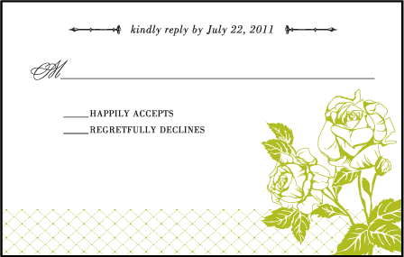 Cotillion Letterpress Reply Postcard Front Design Medium