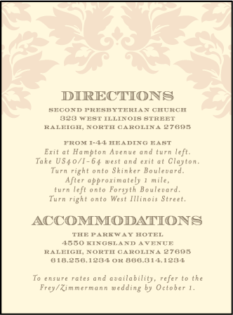 Damask Letterpress Direction Design Medium