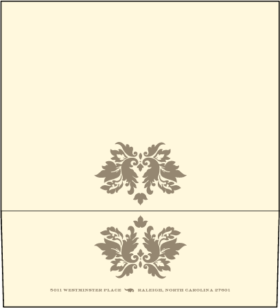 Damask Letterpress Envelope Design Medium