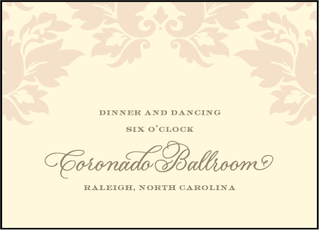 Damask Letterpress Reception Design Medium