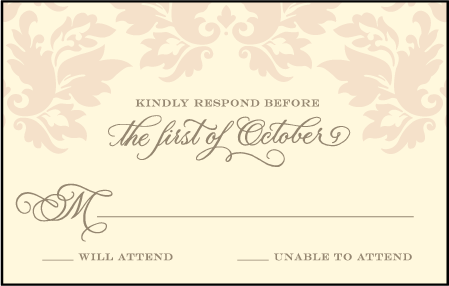 Damask Letterpress Reply Postcard Front Design Medium