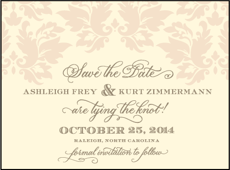 Damask Letterpress Save The Date Design Medium
