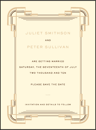 Deco Letterpress Save The Date Design Medium