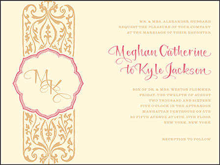 Elegant Monogram Letterpress Invitation Design Medium