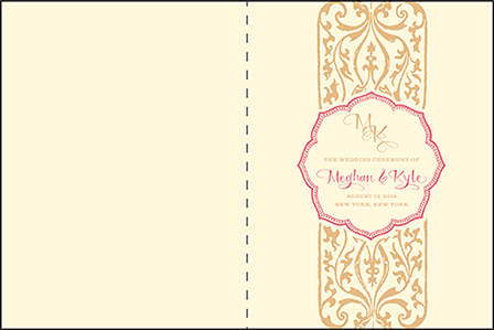 Elegant Monogram Letterpress Program Design Medium