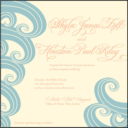 Erte Beach Letterpress Invitation Design Medium