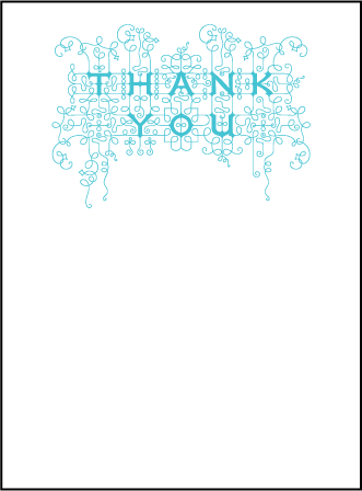 Exuberance Letterpress Thank You Card Flat Design Medium