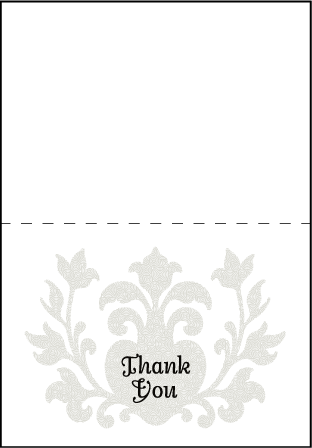 Fleur De Lys Letterpress Thank You Card Fold Design Medium