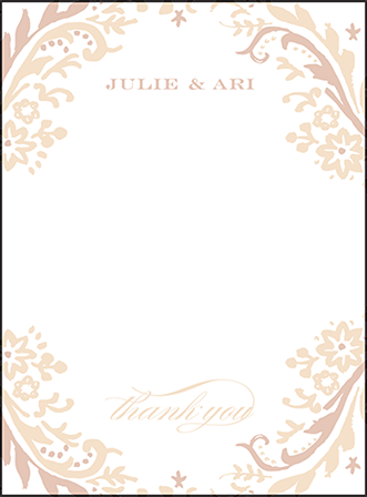 Fleur Letterpress Thank You Card Flat Design Medium