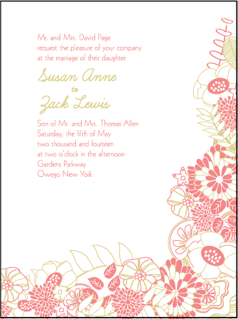 Floral Wreath Letterpress Invitation Design Medium