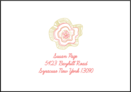 Floral Wreath Letterpress Reply Envelope Design Medium