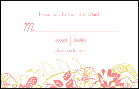 Floral Wreath Letterpress Reply Postcard Front Design Medium